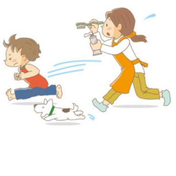 歯磨きを嫌がる子供のイラスト