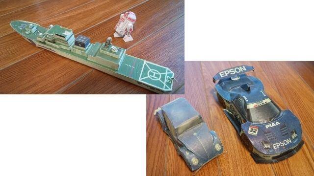 車と船のペーパークラフト
